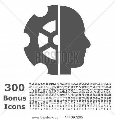 Intellect icon with 300 bonus icons. Vector illustration style is flat iconic symbols, gray color, white background.