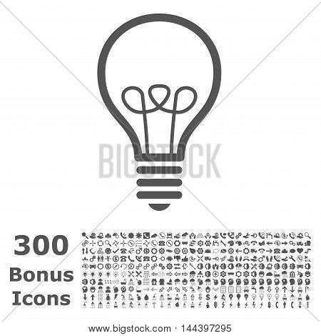 Lamp Bulb icon with 300 bonus icons. Vector illustration style is flat iconic symbols, gray color, white background.