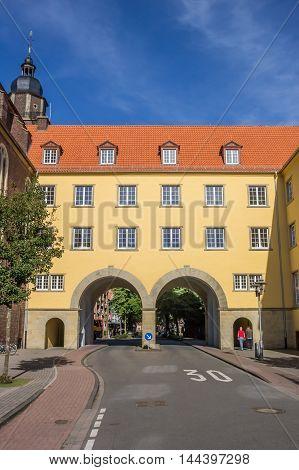 COESFELD, GERMANY - AUGUST 17, 2016: Colorful old buildings in the center of Coesfeld, Germany