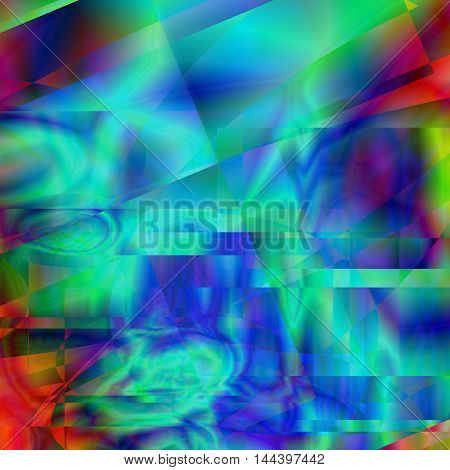 Abstract rainbow kaleidoscope psychedelic background. Amazing Dynamic glitch screen backdrop. Vector design illustration