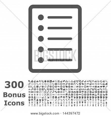 List Page icon with 300 bonus icons. Vector illustration style is flat iconic symbols, gray color, white background.