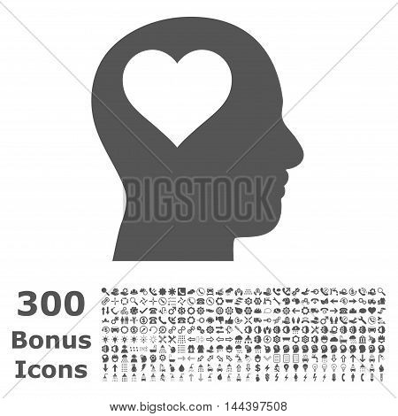 Lover Head icon with 300 bonus icons. Vector illustration style is flat iconic symbols, gray color, white background.