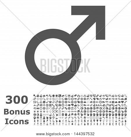 Male Symbol icon with 300 bonus icons. Vector illustration style is flat iconic symbols, gray color, white background.