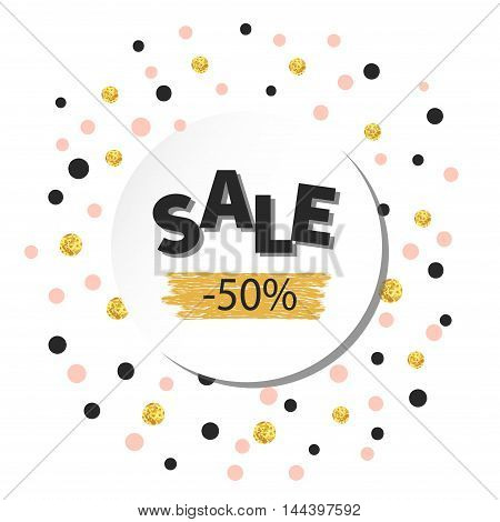 Sale sign over confetti background in gold, black and pink colors. Can be used for flyer, poster, shopping, sales, discount.