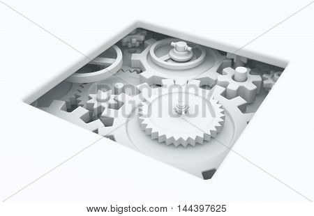 White abstract gears mechanism pit 3d illustration horizontal