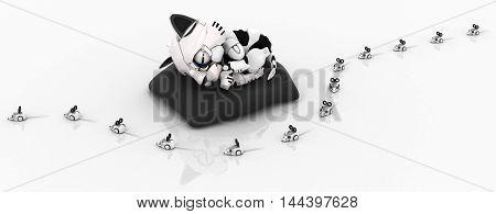 Robotic kitten with mice 3d illustration horizontal isolated