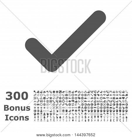 Ok icon with 300 bonus icons. Vector illustration style is flat iconic symbols, gray color, white background.
