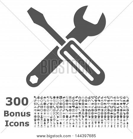 Options icon with 300 bonus icons. Vector illustration style is flat iconic symbols, gray color, white background.