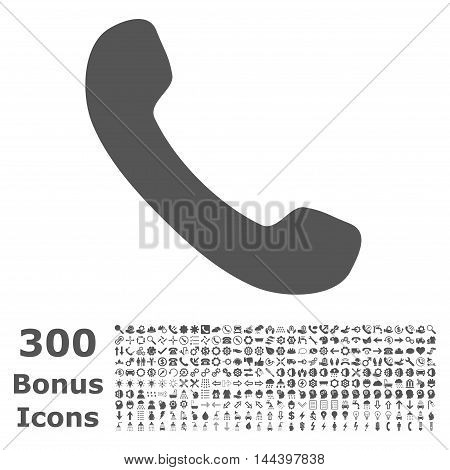 Phone Receiver icon with 300 bonus icons. Vector illustration style is flat iconic symbols, gray color, white background.