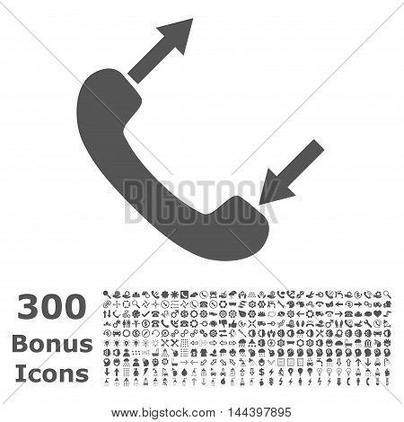 Phone Talking icon with 300 bonus icons. Vector illustration style is flat iconic symbols, gray color, white background.