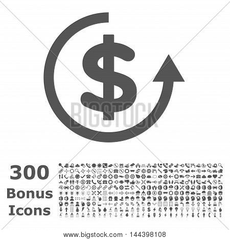 Refund icon with 300 bonus icons. Vector illustration style is flat iconic symbols, gray color, white background.