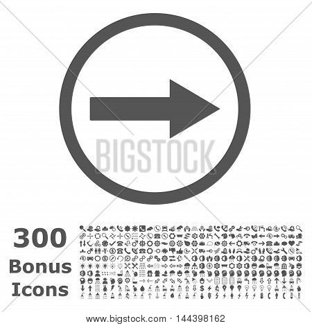 Right Rounded Arrow icon with 300 bonus icons. Vector illustration style is flat iconic symbols, gray color, white background.