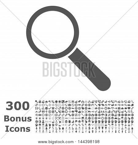Search Tool icon with 300 bonus icons. Vector illustration style is flat iconic symbols, gray color, white background.