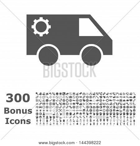 Service Car icon with 300 bonus icons. Vector illustration style is flat iconic symbols, gray color, white background.