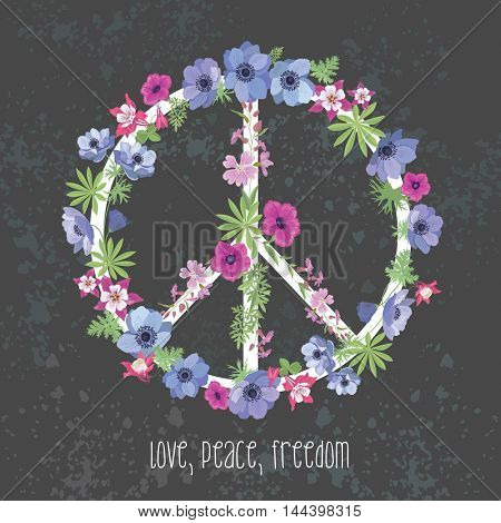 Peace Hippie Symbol with Flower. Fashion Design for T-shirt.