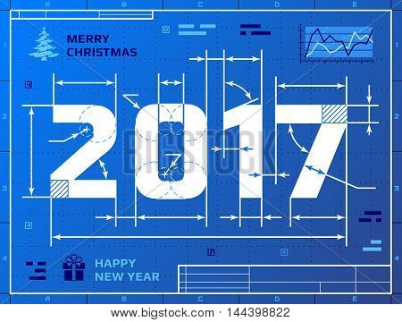 Card of New Year 2017 as blueprint drawing. Stylized drafting of 2017 on blueprint paper. Vector illustration for new years day, christmas, winter holiday, new years eve, engineering, silvester, etc