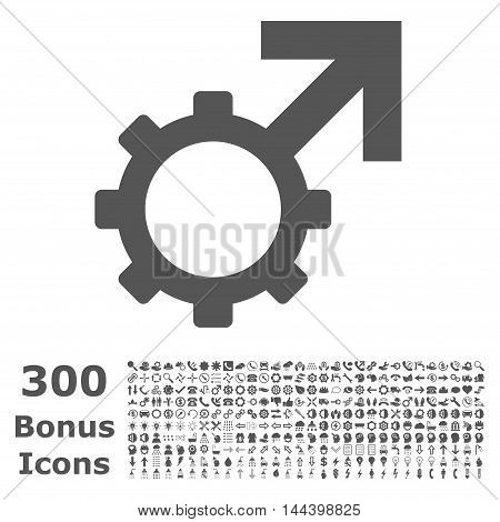 Technological Potence icon with 300 bonus icons. Vector illustration style is flat iconic symbols, gray color, white background.