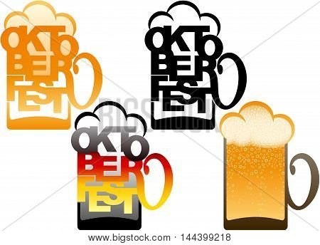 Beer glass with the title the festival Oktoberfest and with a Beer; Type design typography; German flag from the letters; Vector set of icons and emblems EPS10