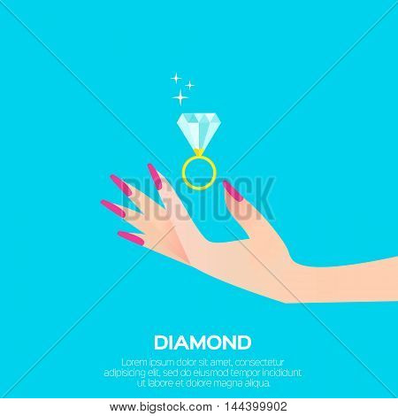 Big shining diamond in woman's hand. Wedding ring concept. Marriage proposal. Design vector illustration on blue background.