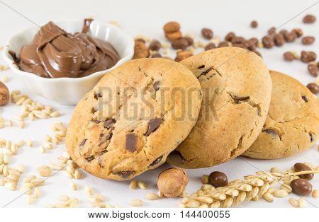 Chocolate Chip Cookies And Hazelnuts Cream