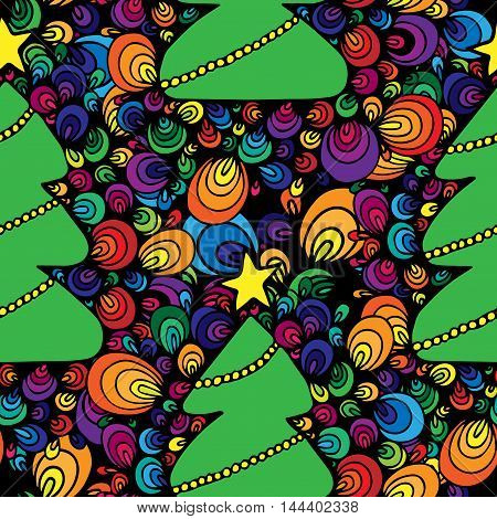 Seamless with abstract New Year tree with star and garland multicolor on the black background