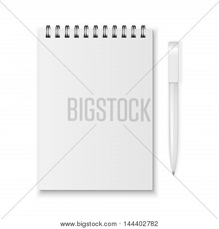 Blank realistic spiral notebook and pen isolated on white background. Vector EPS10 illustration.