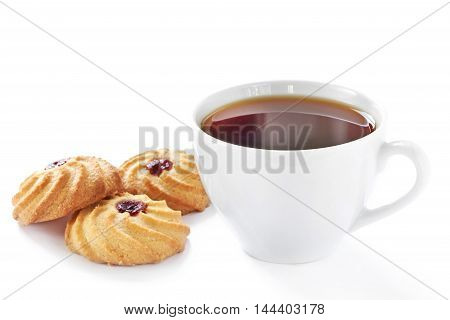 Cup Of Hot Tea And Homemade Cookies