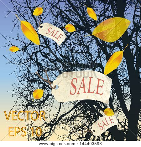 autumn falling leaves and flying labels sale
