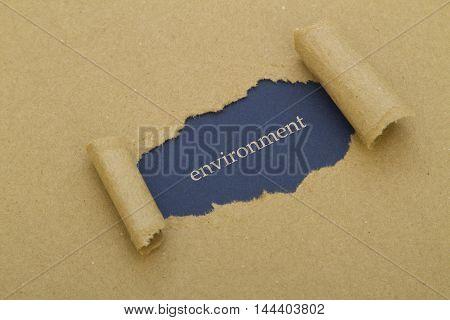 Environment word written under torn paper .