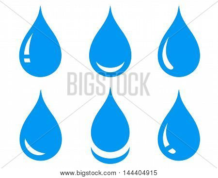 blue glossy water drops set on white background
