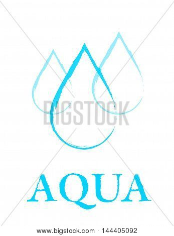 blue linear hand drawing water drop sign on white background