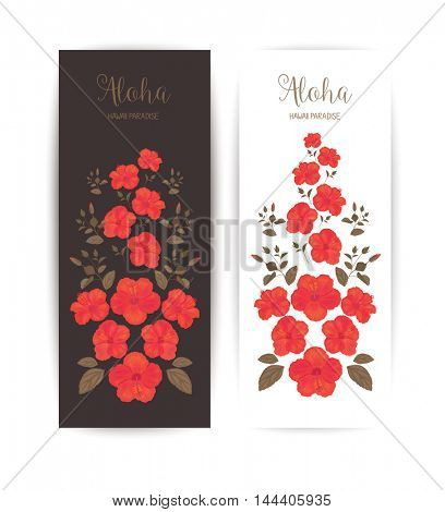Tropical Cards with Hibiscus Flower. Banner for Cosmetic or Packaging.
