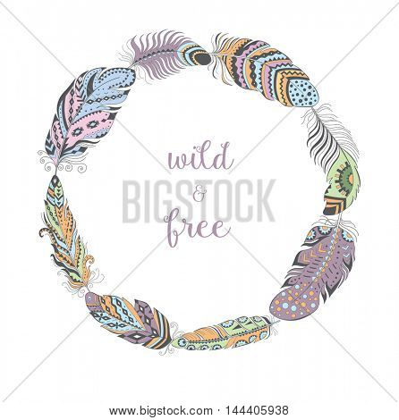 Color Frame with Bird Feathers isolated on White Background. Boho Style Design for T-shirt. Stylized Feather Wreath with Ornament.