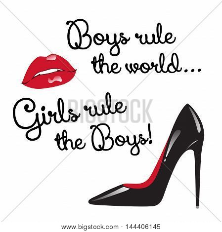 Design For Teenage Girls. Boys Rule The World. Girls Rule The Boys. Red And Black Elements Isolated