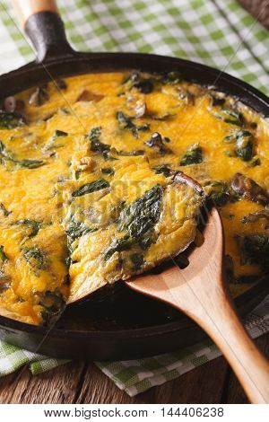 Hot Frittata With Spinach, Cheese And Mushrooms In A Pan Closeup. Vertical