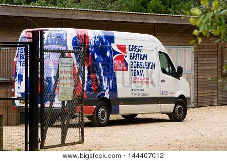 BATH SOMERSET UK - AUGUST 24 2016  Great British Bobsleigh Team van at Bath University. Minibus in livery of British winter sports team with logo 'on the path to Pyeonchang' in 2018