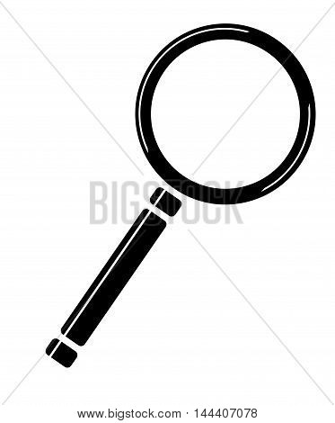 A cartoon style magnifying glass over a white background