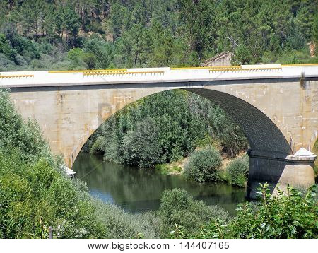 Beautiful detail of the riverside and bridge (Cambas - Portugal)