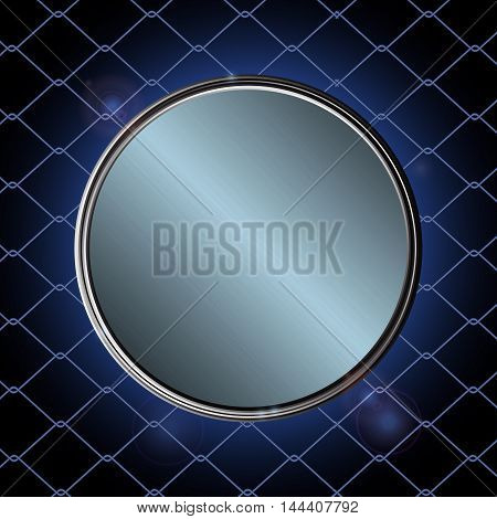Metallic Blue Border Over Black and Blue Background with Cage Net