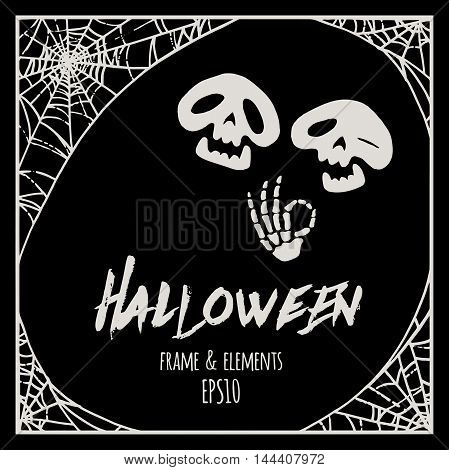 Halloween Cobweb Frame And Elements - Two Cartoon Skeletons Vector