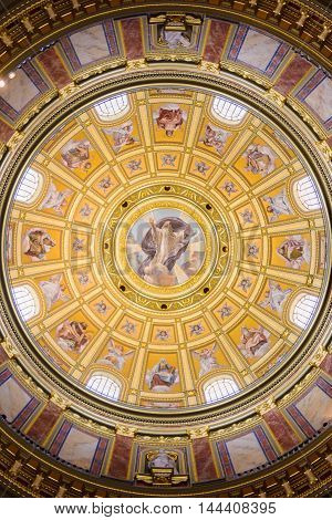 BUDAPEST, HUNGARY - AUG 18 2014: Chapel in the  St. Stephen's Basilica, a Roman Catholic basilica in Budapest, Hungary. It is named in honour of Stephen, the first King of Hungary, built in 1905