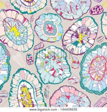 Seamless pattern with gems