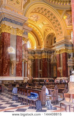 BUDAPEST, HUNGARY - AUG 18 2014: St. Stephen's Basilica, a Roman Catholic basilica in Budapest, Hungary. It is named in honour of Stephen, the first King of Hungary, built in 1905