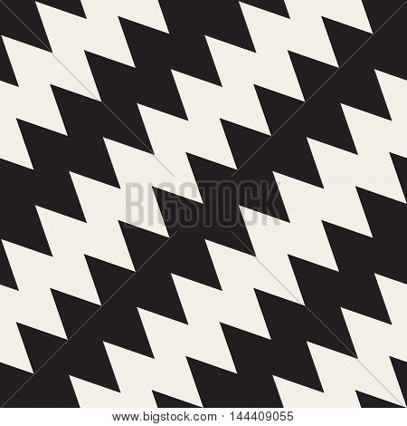 Vector Seamless Black And White ZigZag Diagonal Lines Pattern. Abstract Geometric Background Design