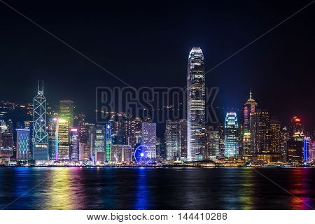 Nightview of Victoria Harbour in Hong Kong. (Hong Kong Island side view from Tsim Sha Tsui)