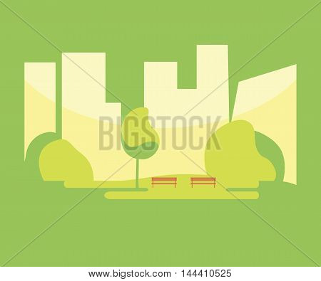 City park with a bench on the background of the city. Vector illustration flat design. Urban landscape