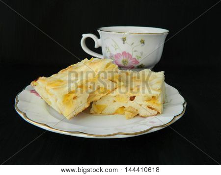 Apple Pie Slices With Cup Of Tea