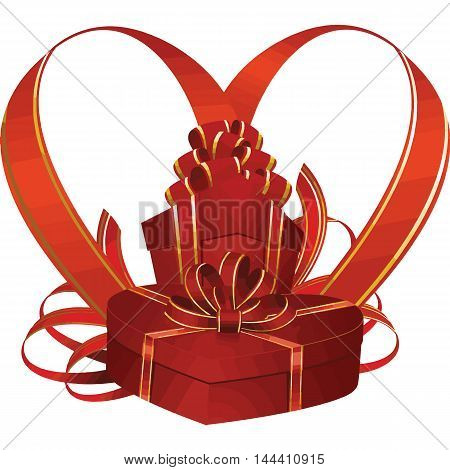 Red gift box with golden ribbon and bow.