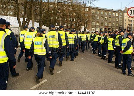 Police  near Bronze Soldier in Tallinn Estonia  26.04.07