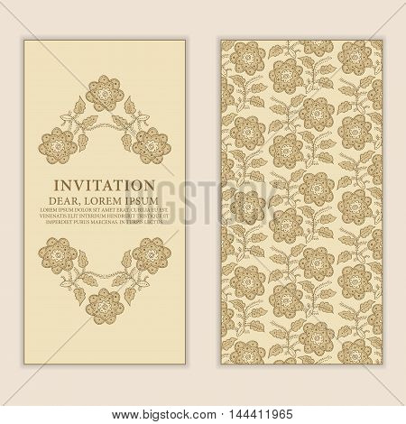 Ethnic greeting card invitation or wedding with lace and floral ornaments in beige. Vector design element.